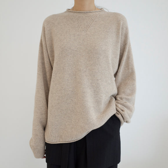 Cashmere Roll Neck Pullover - Brown