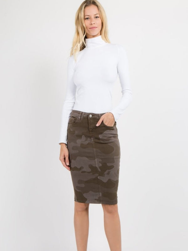 Camouflage Denim Skirt