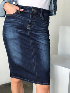 Indigo faded Denim Skirt