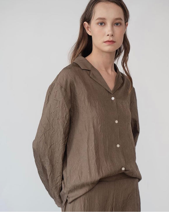 Crushed Silky Blouse - Brown