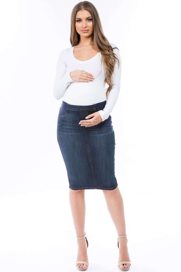 Indigo Maternity Denim with Fading