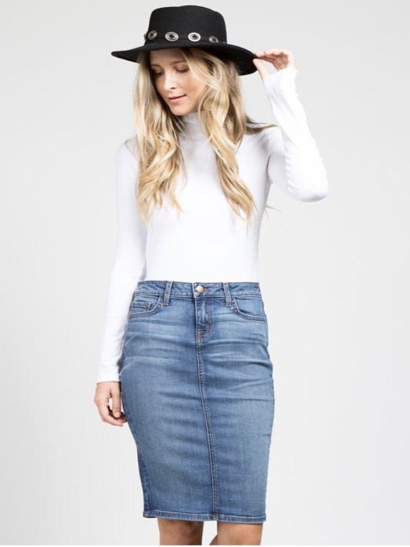 Medium Wash Faded Denim Skirt