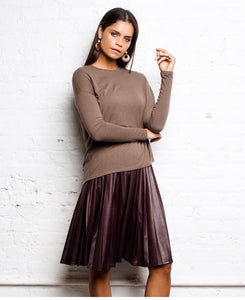 Pleated Suede Skirt - Brown