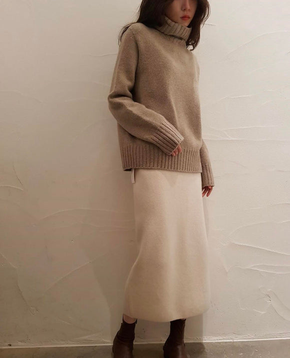 Wool Pencil Skirt - Oatmeal