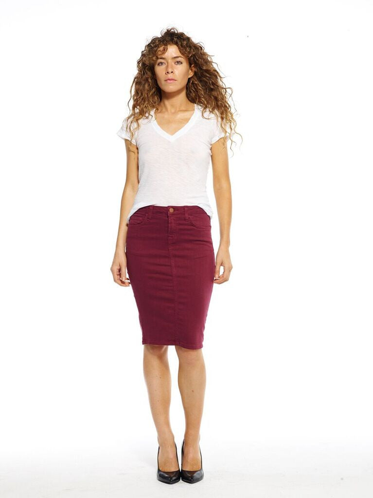 Wine Denim Skirt