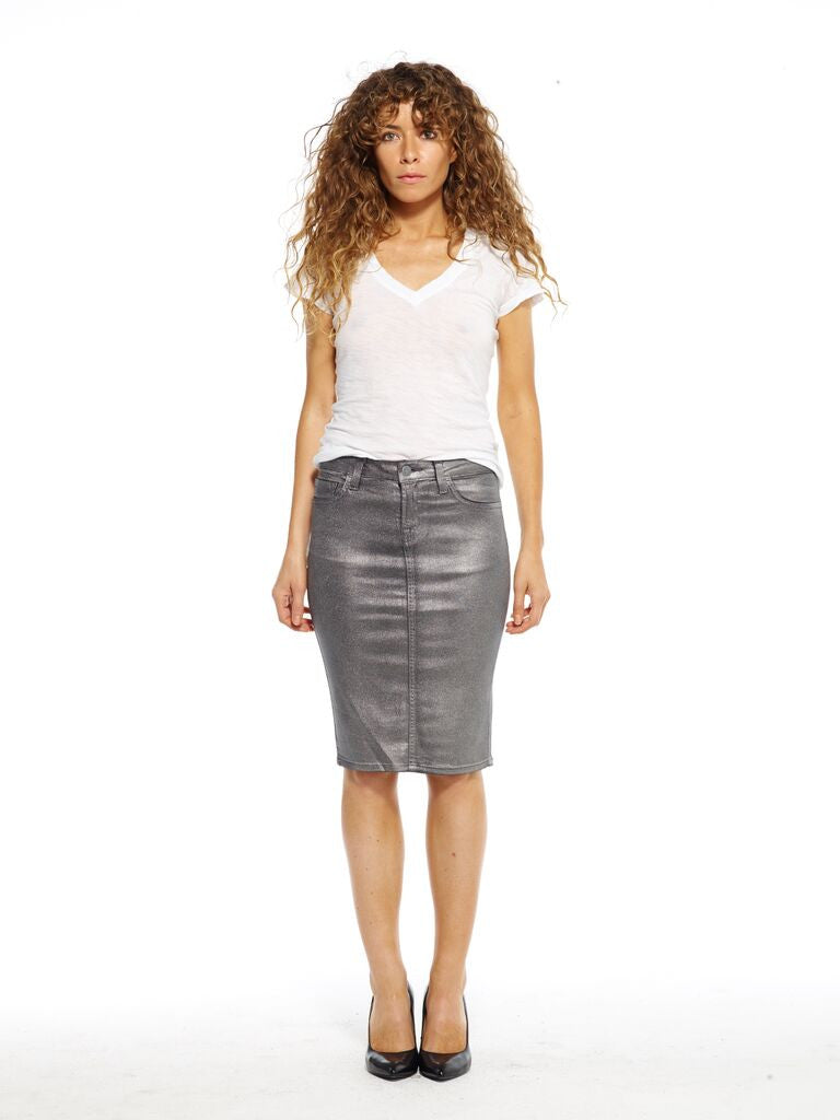 721 Silver Metallic Wax Pencil Skirt