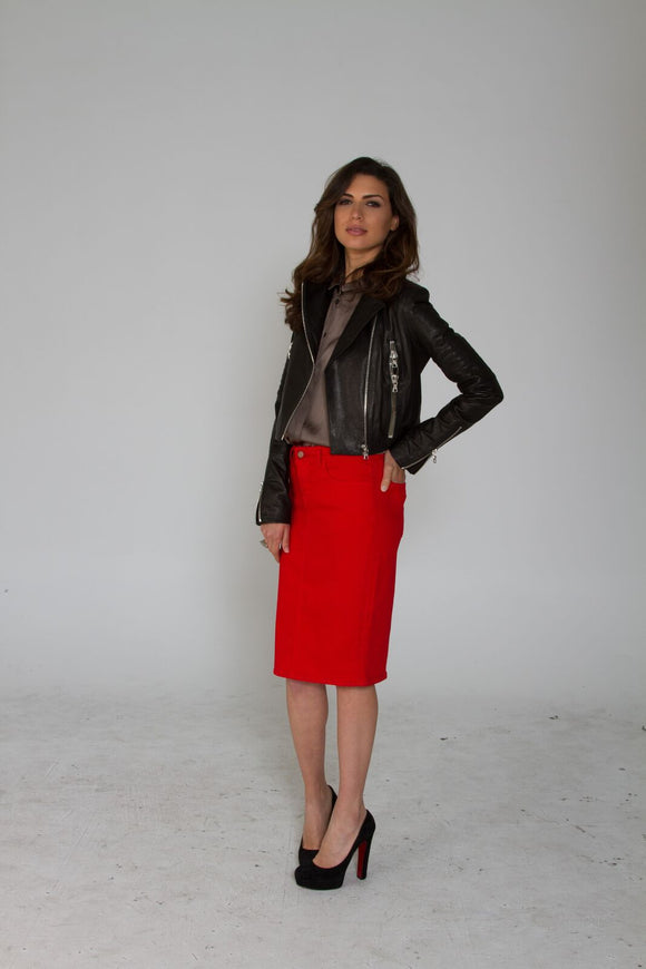 Red Maternity Denim Skirt