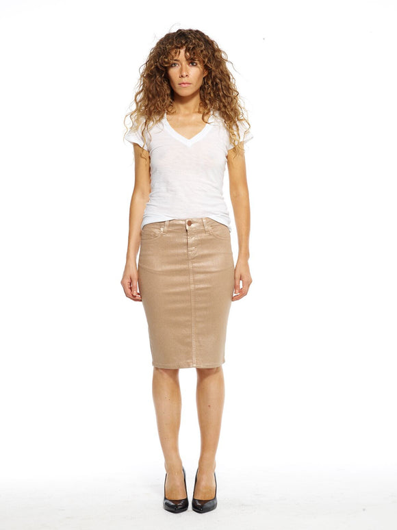Champagne Wax Maternity Denim Skirt