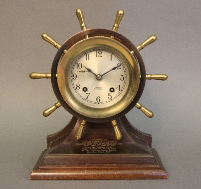 Brass Chelsea Ship's Wheel Clock