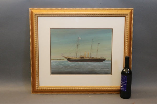 Gouache of a Royal Steam Yacht