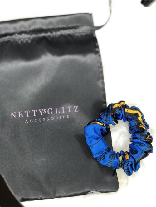 Ankara Scrunchies Blue Satin Ankara