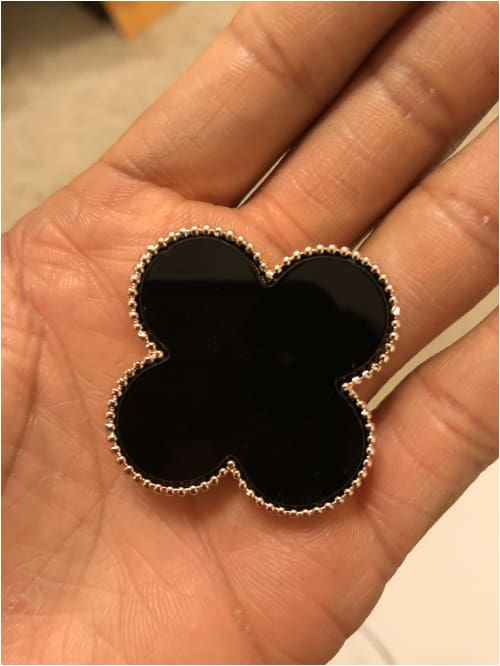 CLOVER BROOCH Black & Gold Brooch