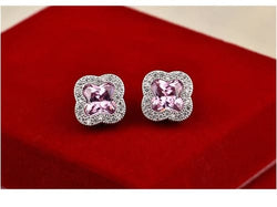 CLOVER STUDS Pink Crystal Earrings
