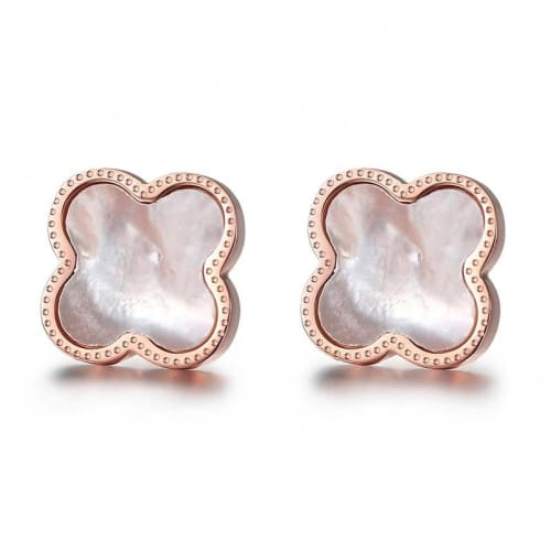 CLOVER STUDS White Earrings