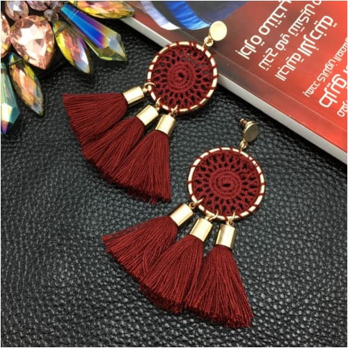 DREAM TASSELS Wine Earrings