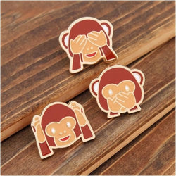 EMOJI BROOCHES - Wise Monkeys Brooch