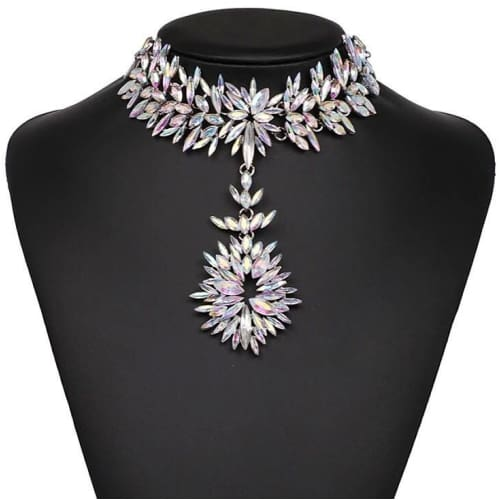 FLOWER CRYSTAL CHOKER Necklace