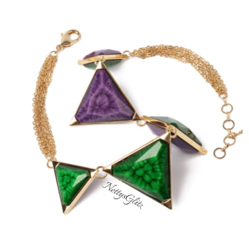 GEOMETRIC EMERALD-PURPLE DUO NECKLACE Emerald Purple Duo Necklace necklace