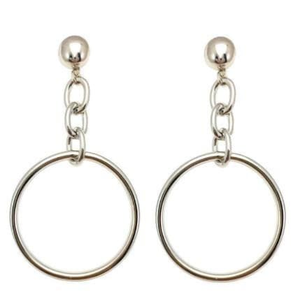 HOOP AND CHAIN silver Earrings