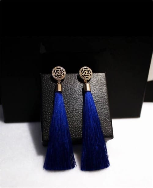 RED BIJOUX TASSELS Blue Bijoux Tassel Earrings Earrings