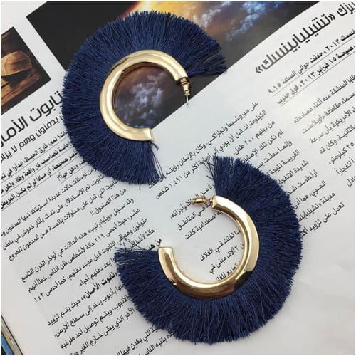 RUTH CURVED TASSELS Blue Earrings