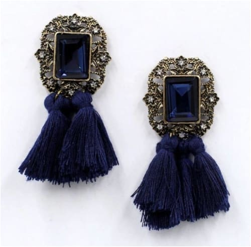 VINTAGE TASSELS Dark Blue Earrings
