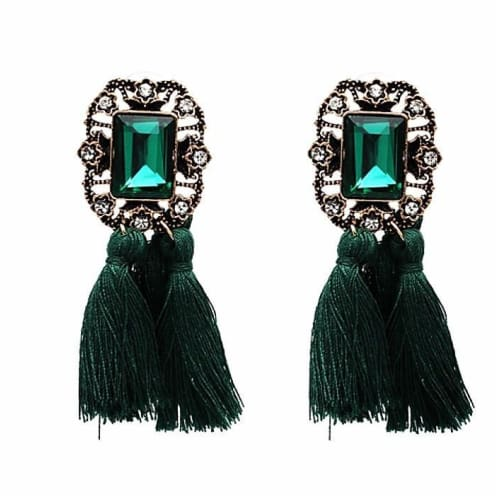 VINTAGE TASSELS Emerald Green Earrings