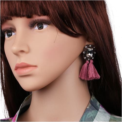 VINTAGE TASSELS Pink Earrings