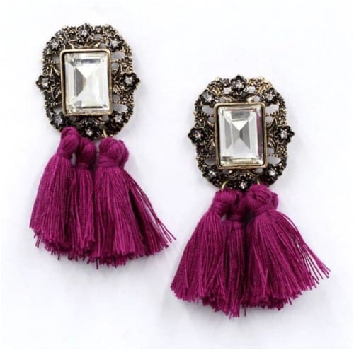 VINTAGE TASSELS Purple Earrings