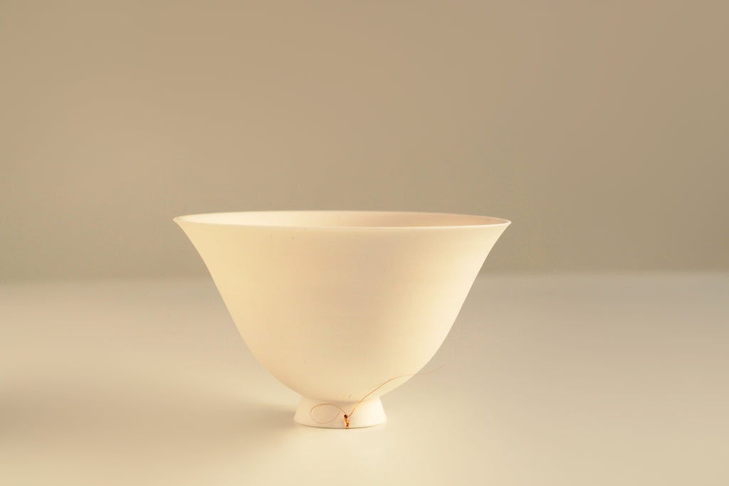 White Porcelain Contemporary Ceramic Wheel Thrown Flower Shaped Tea Bowl