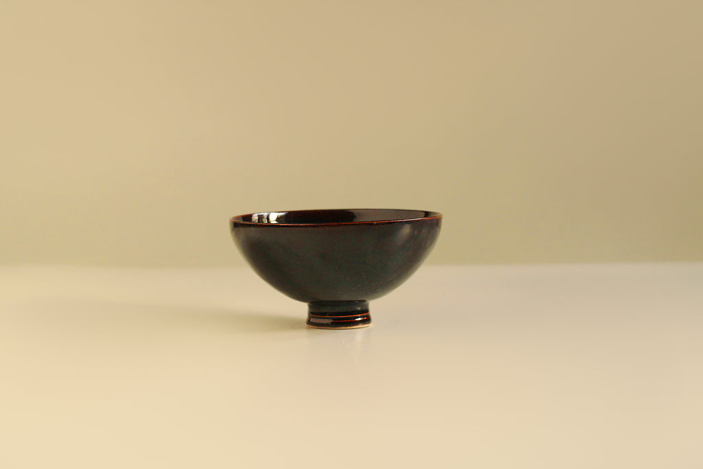 Black brown glazed glossy Stoneware Contemporary Ceramic Wheel Thrown Matcha Tea Bowl