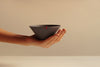 Black Porcelain Contemporary Ceramic Wheel Thrown Matcha Tea Bowl in Hand