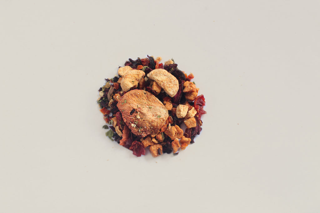 An All-Natural, Organic, Loose Leaf, Fruit Punch Tisane Tea Blend that is caffeine free and naturally sweetened. Perfect for Iced Tea or Cold Brew Tea.