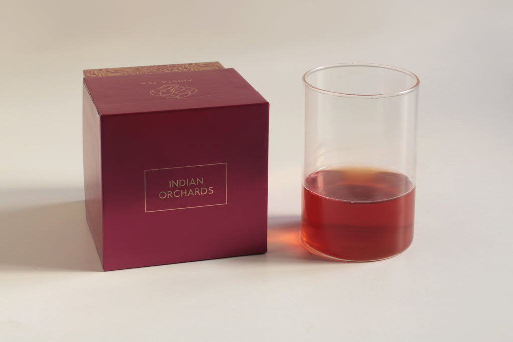Cinnamon Roasted Peaches Hojicha Green Tea Blend Liquor and Luxury Tea Gift Packaging