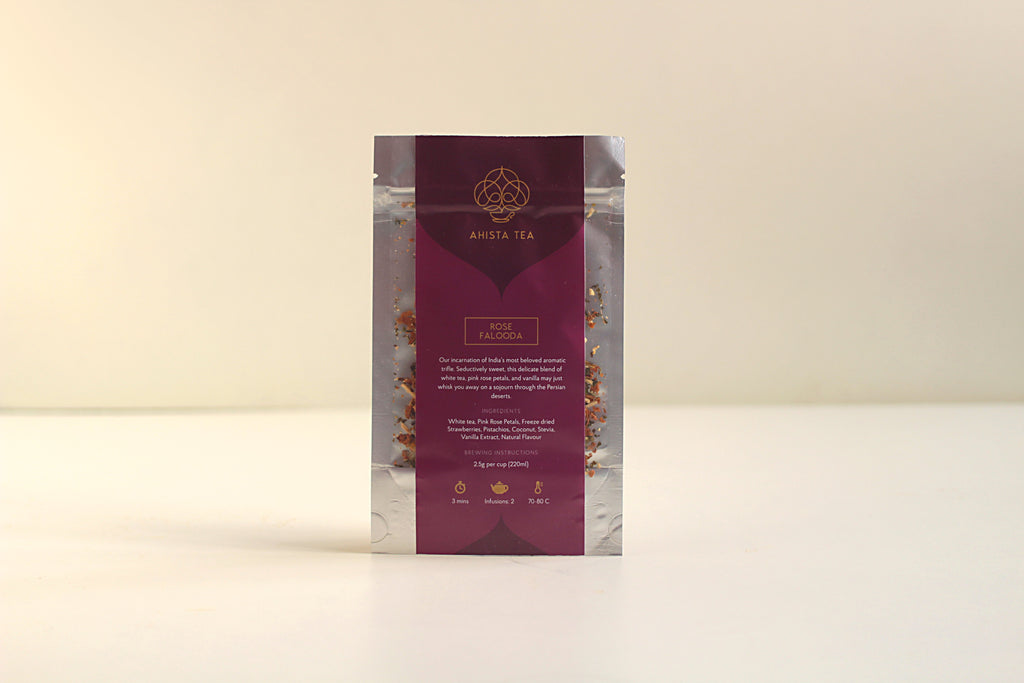 All-Natural, Organic, Loose Leaf, Rose Falooda Vanilla Rose Dessert White Tea Dessert Tea Blend Liquor and Luxury Tea Gift Packaging Refill Bags for Tea Enthusiasts, Connoisseurs, Corporate Employees and Clients.