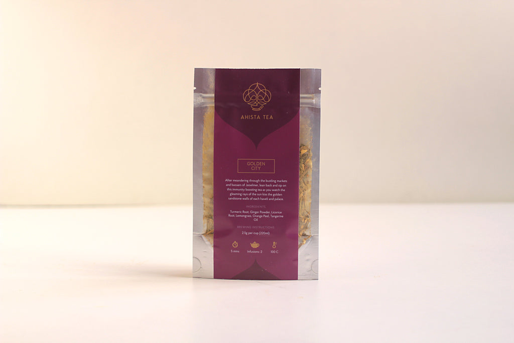 Luxury Immunity Boosting Herbal Turmeric Ginger Tangerine Tea Refill Bags for Tea Enthusiasts, Connoisseurs, Corporate Employees and Clients.