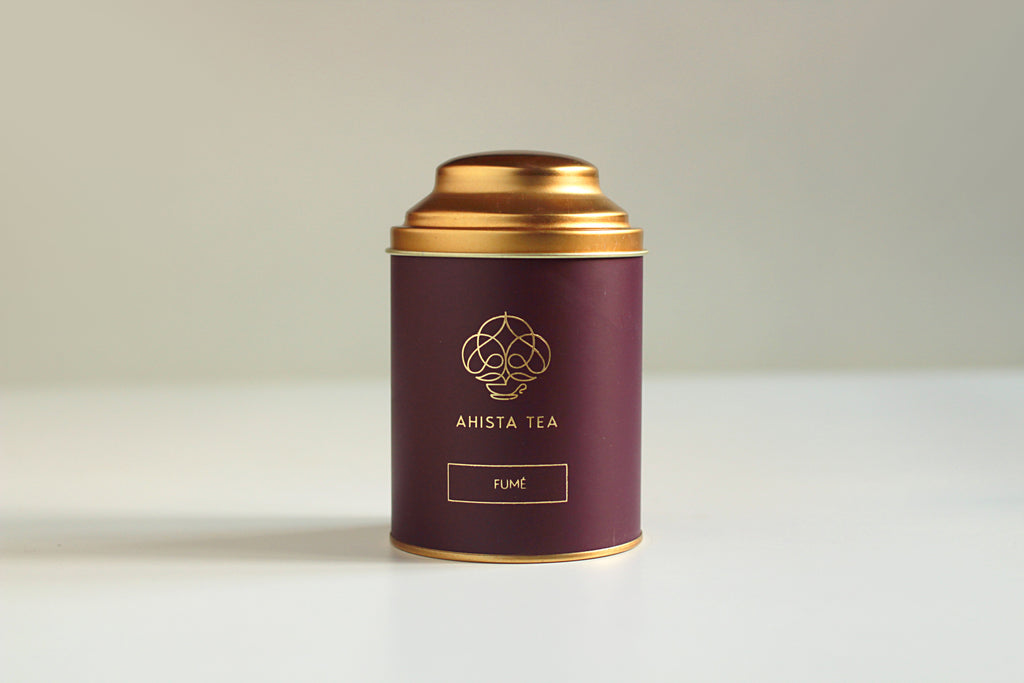 Premium, Single-Batch Indian Loose Leaf Smoked Black Tea Luxury Tin Packaging Ahista Tea