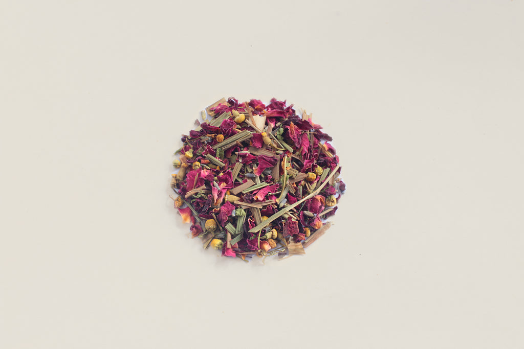 An All-Natural, Organic, Loose Leaf, All-Natural, Organic, Sleepytime Bedtime Chamomile Rose Petals Lavender Herbal Tea Blend