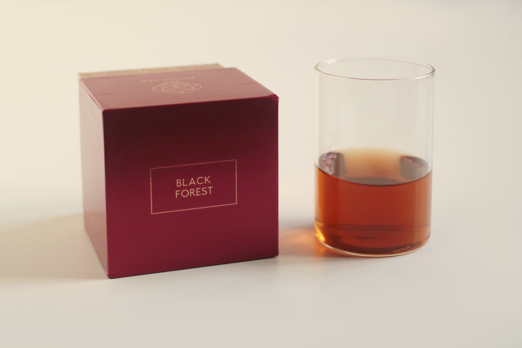 Black Forest Dessert tea blend liquor and luxury tea gift packaging.