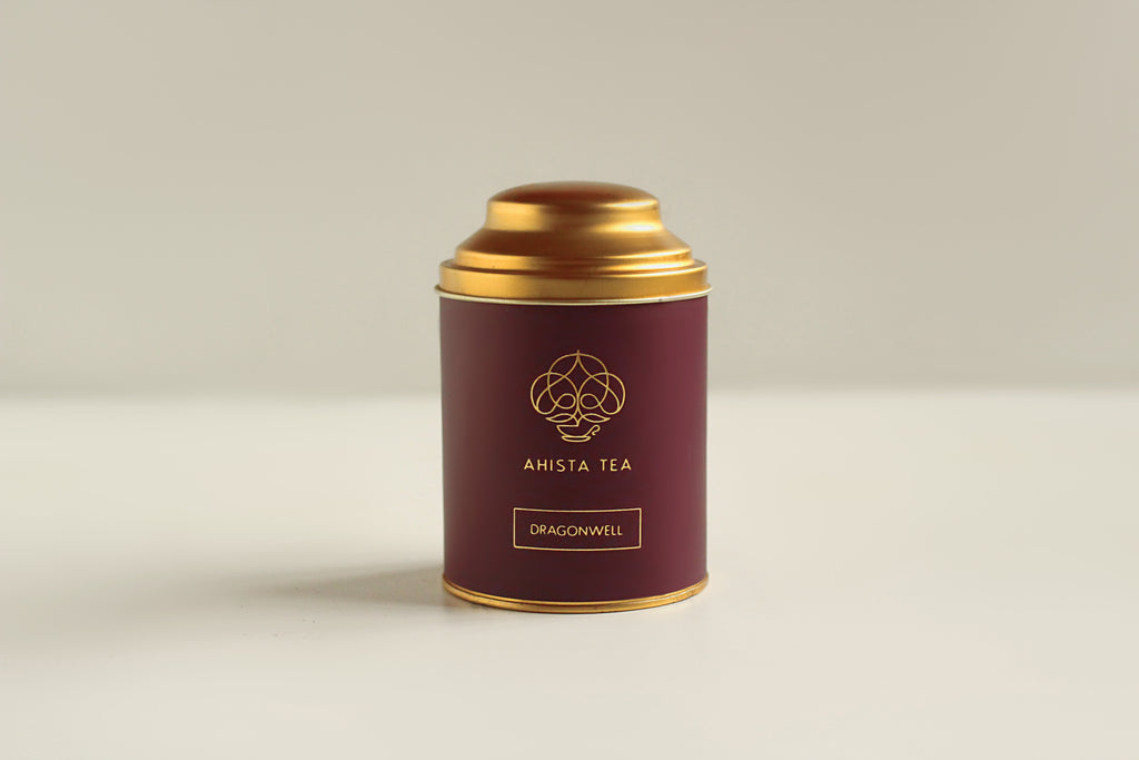 Organic, Loose Leaf Dragonwell Green Tea Premium Luxury Tin Packaging Ahista Tea