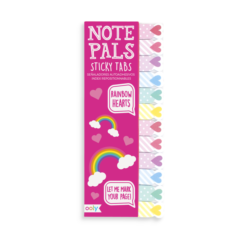 Note Pals Sticky Tabs, Rainbow Hearts