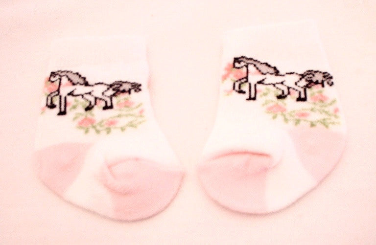 Pink and White Horse Socks