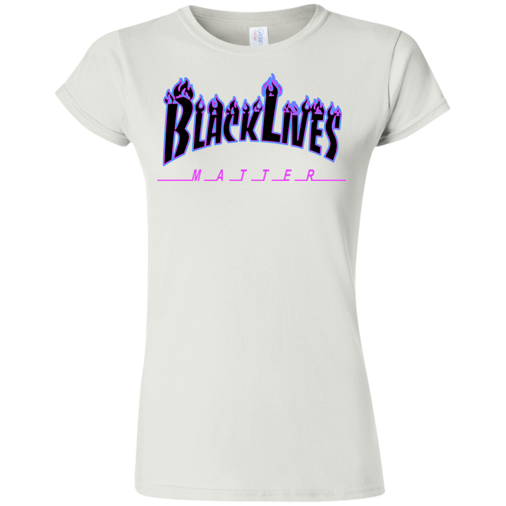 BLM Flame Black and Blue Womens T-Shirt