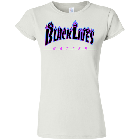 Image of BLM Flame Black and Blue Womens T-Shirt