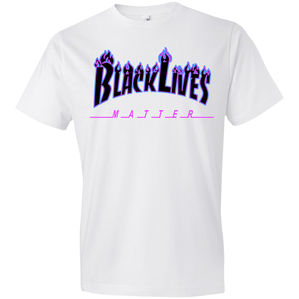 BLM Flames Black and Purple MensT-Shirt