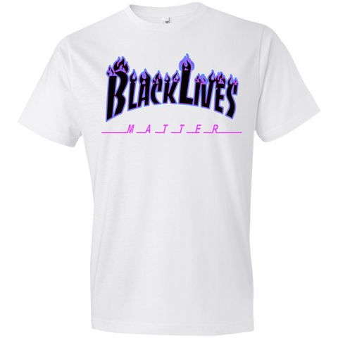 Image of BLM Flames Black and Purple MensT-Shirt