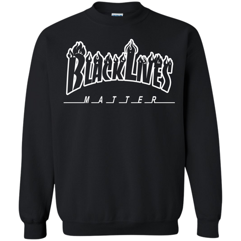Image of BLM Flame White Crewneck Unisex