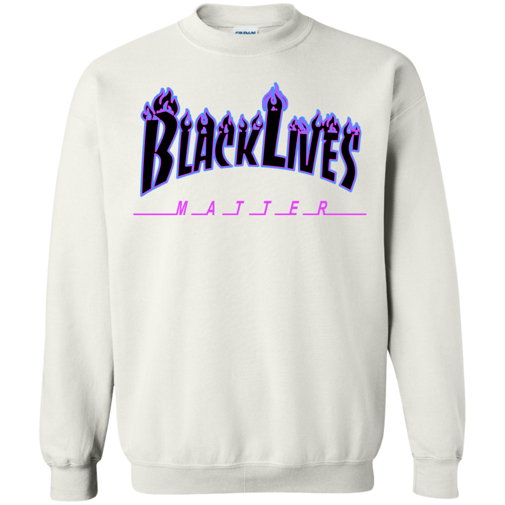BLM Flame Purple and Black Hoodie Crewneck