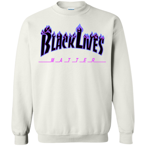 Image of BLM Flame Purple and Black Hoodie Crewneck