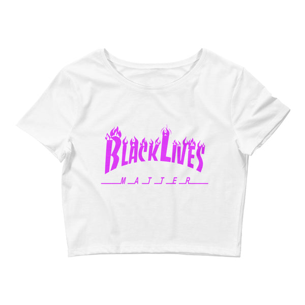 BLM Purple Flames Women's Crop Tee
